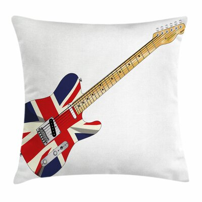 Union Jack Electric Guitar Flag Square Pillow Cover Size: 18 x 18