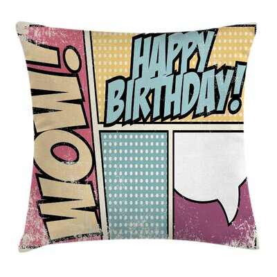 Vintage Comic Book Birthday Square Pillow Cover Size: 18 x 18