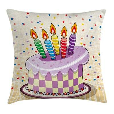 Retro Cake Candles Dots Stars Square Pillow Cover Size: 18 x 18