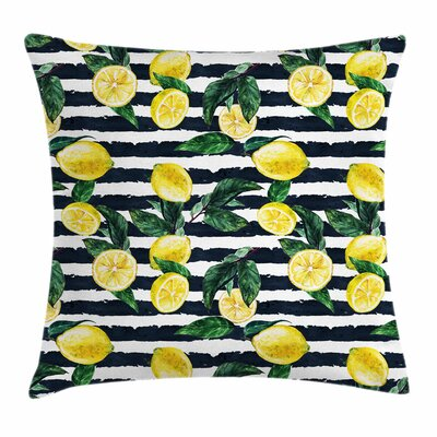 Modern Fresh Lemons Striped Pillow Cover Size: 16 x 16