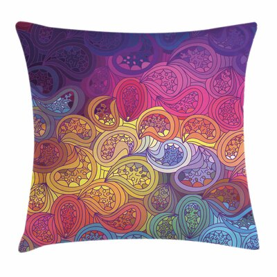 Abstract Leaf Shaped Wavy Boho Pillow Cover Size: 24 x 24