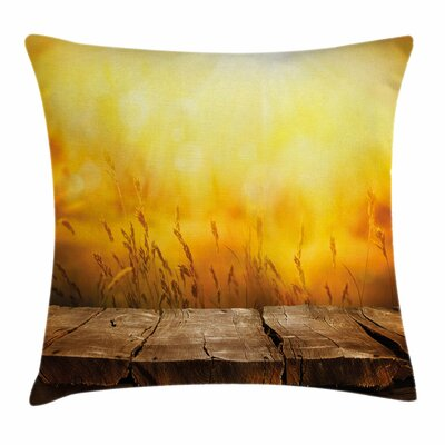 Fall Decor Empty Tabletop Wheat Square Pillow Cover Size: 24 x 24