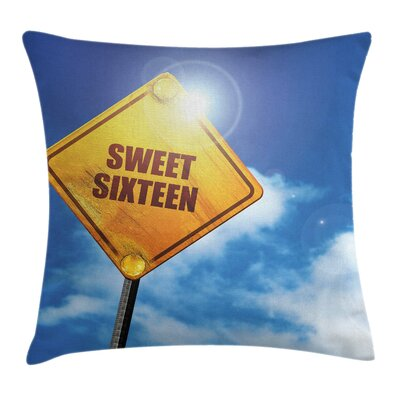 Birthday Sweet Sixteen Road Square Pillow Cover Size: 16 x 16