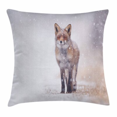 Fox Rural Field Snow Stormy Square Pillow Cover Size: 16 x 16