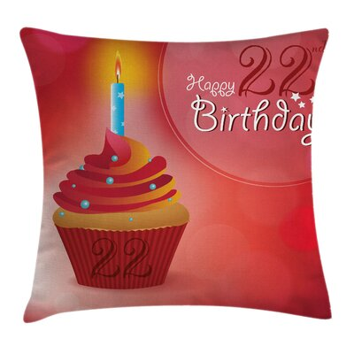 Birthday Cute Cupcake Romantic Square Pillow Cover Size: 16 x 16