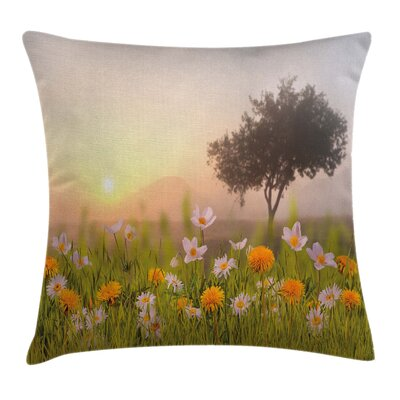 Country Home Daisies Tree Mist Pillow Cover Size: 18 x 18