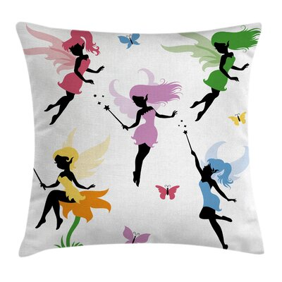 Girls Room Cute Pixie Elf Fairy Pillow Cover Size: 24 x 24