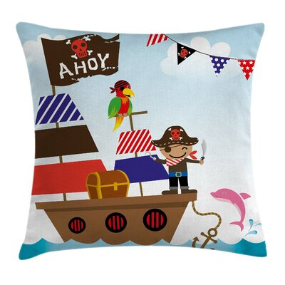 Fun Cute Pirate Kids Ship Ocean Square Pillow Cover Size: 18 x 18