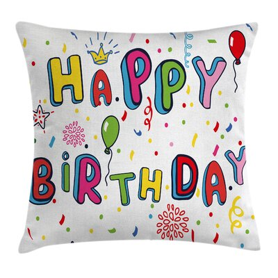 Funny Cute Letters Greeting Square Pillow Cover Size: 24 x 24