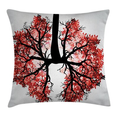 Tree Human Lung Floral Healthy Pillow Cover Size: 18