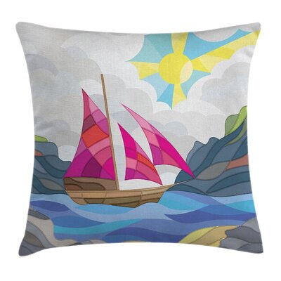 Nautical Sun Sail Boat Vitray Pillow Cover Size: 18 x 18