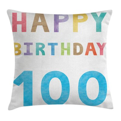 Colorful Vintage Birthday Wish Square Pillow Cover Size: 24 x 24