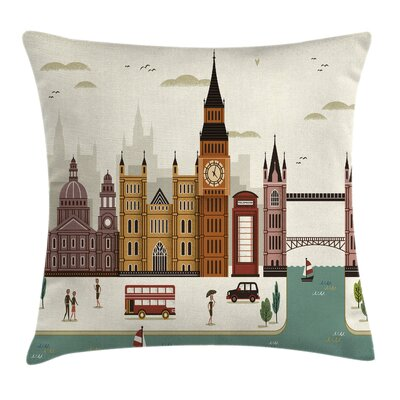 London Travel Scenery Big Ben Pillow Cover Size: 16 x 16