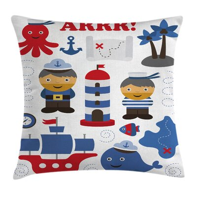 Nautical Sea Themed Objects Square Pillow Cover Size: 20 x 20