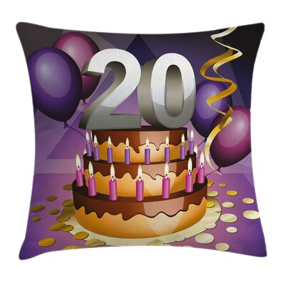 Cartoon Birthday Cake Square Pillow Cover Size: 16