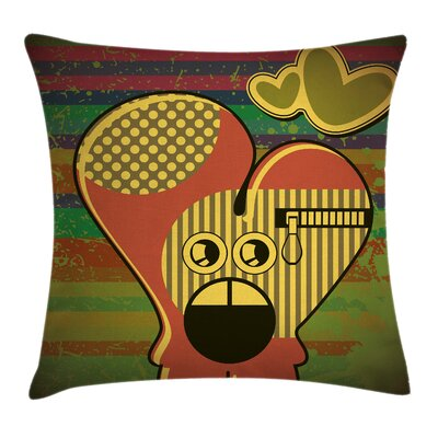 Fun Cute Monster Heart Grunge Pillow Cover Size: 18 x 18