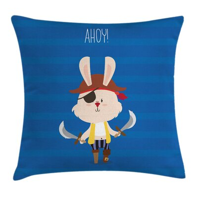 Bunny Pirate Eye Patch Ahoy Square Pillow Cover Size: 18 x 18