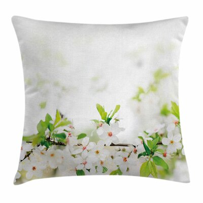 Flower White Spring Blossoms Square Pillow Cover Size: 16 x 16