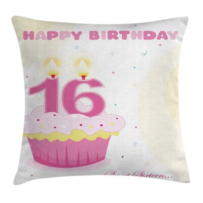 Cool Cupcake Candle Teen Girls Square Pillow Cover Size: 24 x 24