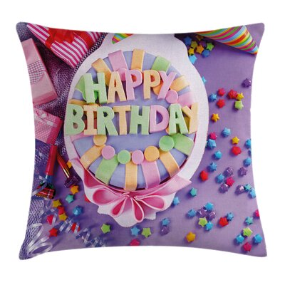 Birthday Cake Presents Square Pillow Cover Size: 24 x 24