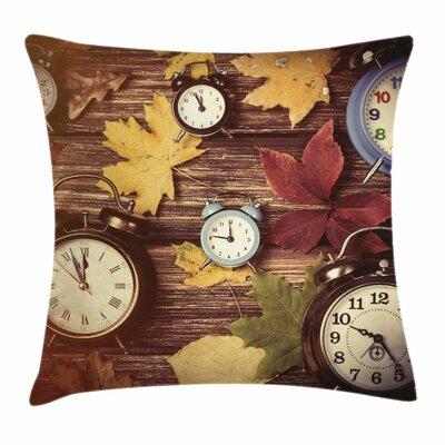 Fall Decor Clocks Dry Leaves Square Pillow Cover Size: 18 x 18