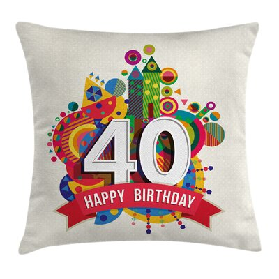 Geometric Cute Cartoon Banner Pillow Cover Size: 20 x 20