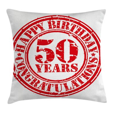 Grunge 50th Birthday Icon Pillow Cover Size: 18 x 18