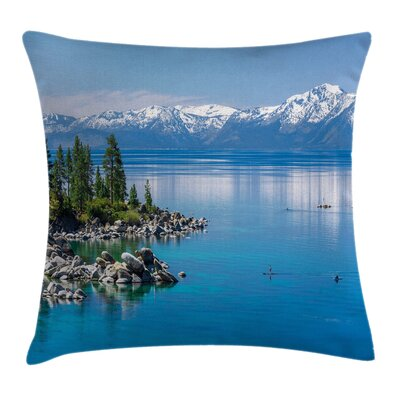 Landscape Water Lake Tahoe Pillow Cover Size: 18 x 18