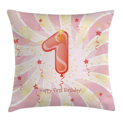 Party Baby Kids First Birthday Square Pillow Cover Size: 18 x 18