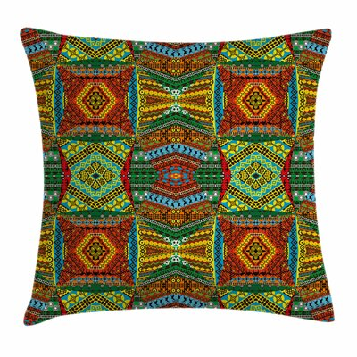 African Ethnic Native Motifs Square Pillow Cover Size: 18 x 18