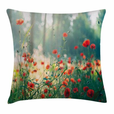 Nature Wild Poppy Field Square Pillow Cover Size: 18 x 18