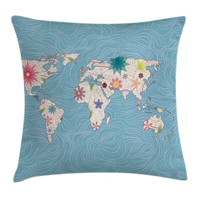 Hippie World Map Continents Eco Pillow Cover Size: 16 x 16