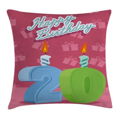 Birthday Party Lettering Square Pillow Cover Size: 16 x 16