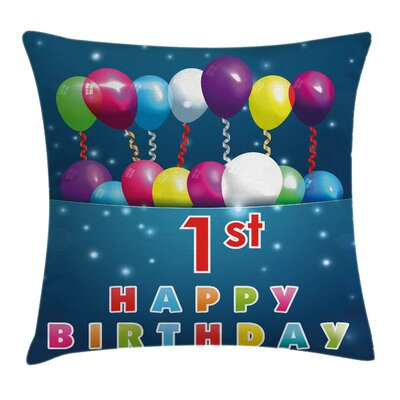 Birthday Party with Balloons Square Pillow Cover Size: 18 x 18