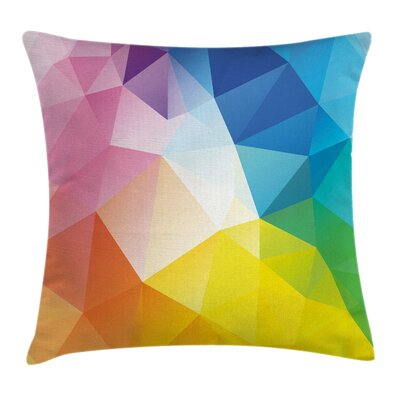 Rainbow Fractal Colored Lines Pillow Cover Size: 24 x 24