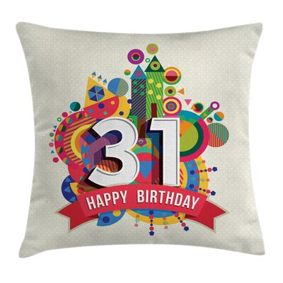 Fun Colorful Birthday Greeting Square Pillow Cover Size: 18 x 18
