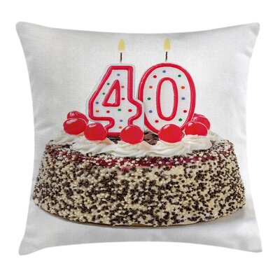 Festive Yummy Birthday Cake Pillow Cover Size: 16 x 16