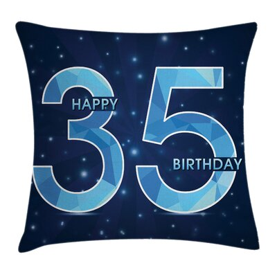 Number Thirthy Five Modern Square Pillow Cover Size: 18 x 18