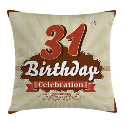 Retro Thirty One Celebration Square Pillow Cover Size: 24 x 24