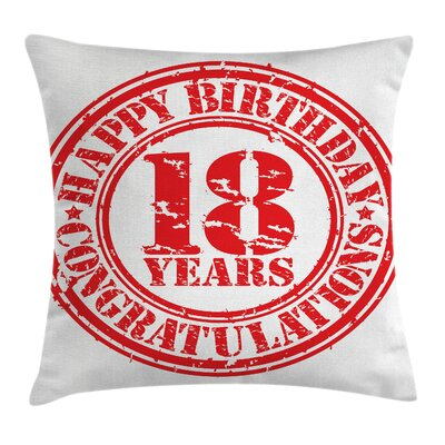 Birthday Stamp Icon Square Pillow Cover Size: 16 x 16