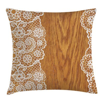 Shabby Elegance Lace Wooden Retro Pillow Cover Size: 16 x 16