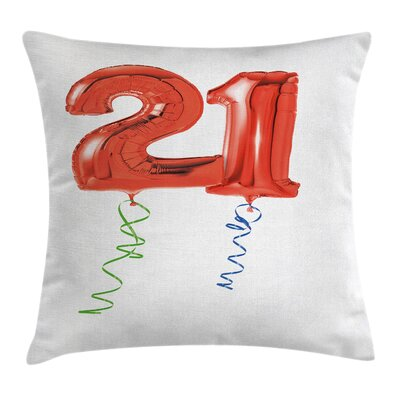 Birthday 21 Theme Party Balloon Pillow Cover Size: 18 x 18