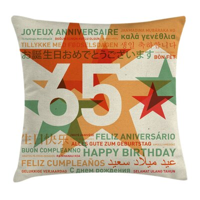 Retro Happy Birthday Languages Square Pillow Cover Size: 18 x 18