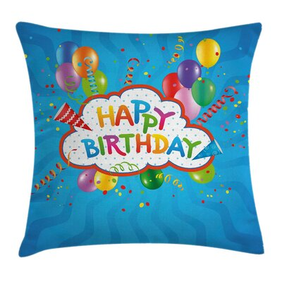 Greeting Text Party Hats Square Pillow Cover Size: 24 x 24