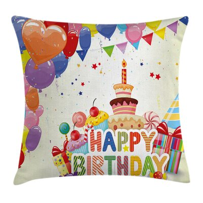 Hearts Funny Cupcakes Square Pillow Cover Size: 24 x 24