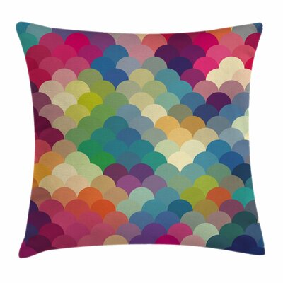 Abstract Colorful Retro Scales Square Pillow Cover Size: 16 x 16