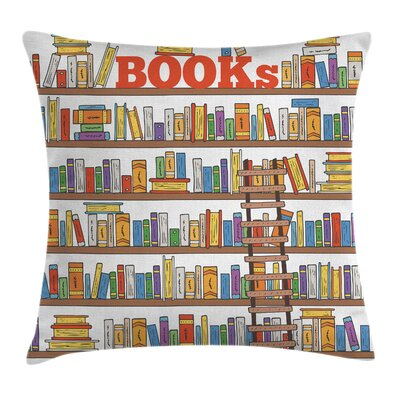 Colorful Library Ladder School Pillow Cover Size: 18 x 18