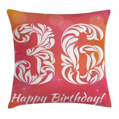 Ombre Birthday Party Theme Square Pillow Cover Size: 16 x 16