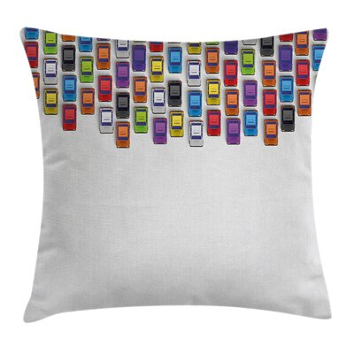 Urban Traffic Jam Cars Artsy Pillow Cover Size: 24 x 24