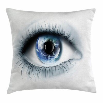 Eye Planet Earth Reflection Square Pillow Cover Size: 16 x 16
